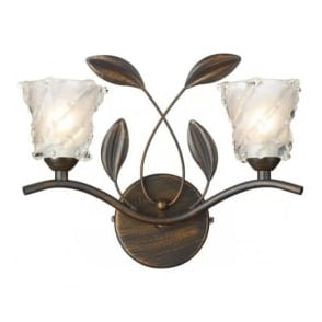PRU0963 Prunella traditional 2 light wall light bronze finish with opal/clear glass shades (switched)