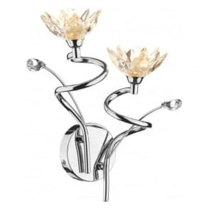 POP0950 Poppy 2 light modern wall light crystal and polished chrome finish (switched)