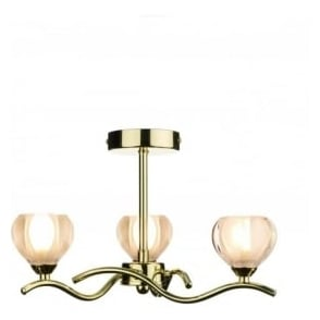 CYN0340 Cynthia 3 light modern ceiling light opal glass and polished brass finish