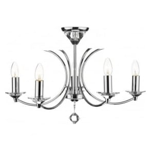MED0550 Medusa 5 light modern ceiling pendant light crystal and polished chrome