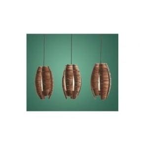 91012 Mongu 3 light modern pendant ceiling light brown finish