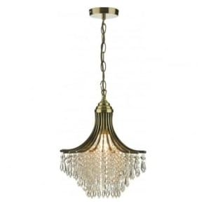 SUR0108 Suri 1 light modern crystal ceiling pendant antique brass finish
