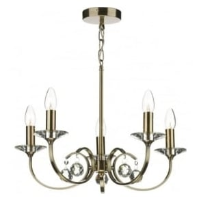 ALL0575 Allegra 5 light traditional ceiling pendant antique brass finish