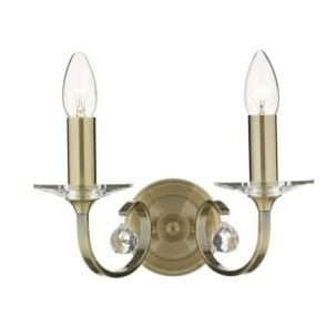 ALL0975 Allegra 2 light traditional wall light antique brass finish (switched)