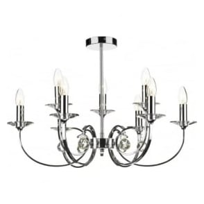 ALL1350 Allegra 9 light traditional ceiling pendant polished chrome finish