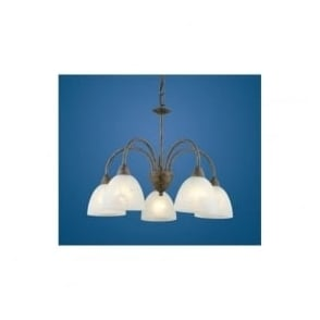 89897 Dionis 5 light traditional ceiling pendant rusty finish with alabaster glass shades