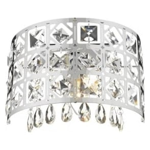 DUC0750 Duchess 1 light crystal wall light polished chrome finish
