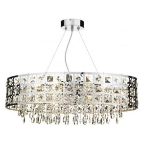 DUC6450 Duchess 6 light crystal ceiling pendant polished chrome finish