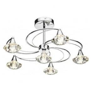 LUT0650 Luther 6 Light Crystal Ceiling Light Polished Chrome
