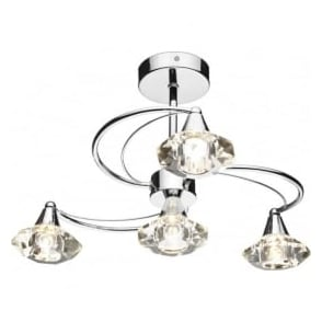 Dar LUT0450 Luther 4 Light Crystal Ceiling Light Polished Chrome