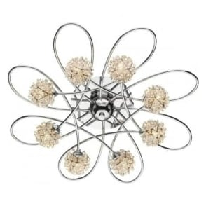 ALO0850 Alonso 8 light crystal ceiling light polished chrome finish