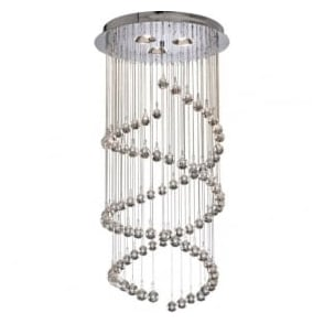 8843CC Spiral 5 Light Ceiling Pendant Polished Chrome