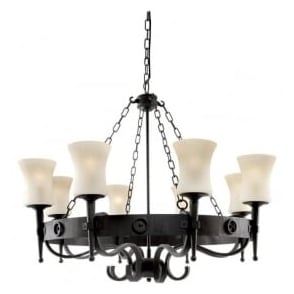 0818-8BK Cartwheel 8 Light Ceiling Light Wrought Iron