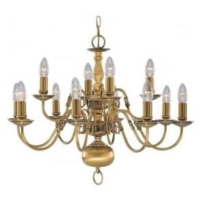 1019-12AB Flemish 12 Light Ceiling Light Solid Antique Brass