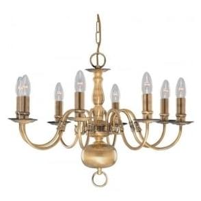 1019-8AB Flemish 8 Light Ceiling Pendant Light Solid Antique Brass