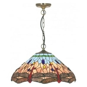 1283-16 Dragonfly 1 Light Ceiling Pendant Antique Brass