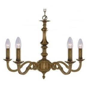 1075-5NG Malaga 5 Light Ceiling Light Solid Antique Brass
