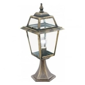 1524 New Orleans 1 Light Post Lamp Cast aluminium Black/Gold Clear Glass IP44 Rated