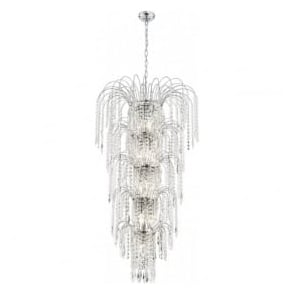 1313-13CC Waterfall 13 Light Ceiling Pendant Polished Chrome