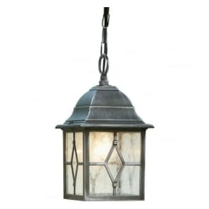 1641 Genoa 1 Light Ceiling Lantern IP23 Rated Cast Aluminium Lead Black/Silver