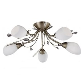 1765-5AB Gardenia 5 Light Semi-Flush Ceiling Light Antique Brass