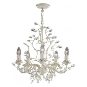 2495-5CR Almandite 5 Light Ceiling Light Cream Gold