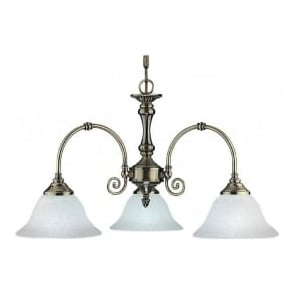 9353-3 Virginia 3 Light Ceiling Light Antique Brass