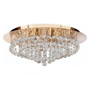 3408-8GO Hanna 8 Light Modern Semi-Flush Ceiling Light Gold
