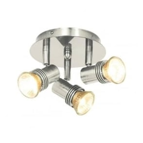 P633SS Decco 3 Light Ceiling Spotlight Satin Silver