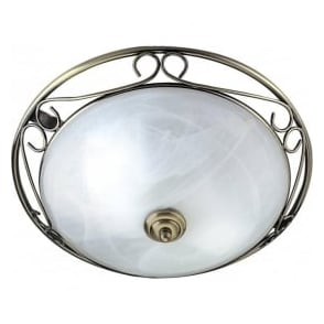 6436 Flush 2 Light Flush Ceiling Light Antique Brass