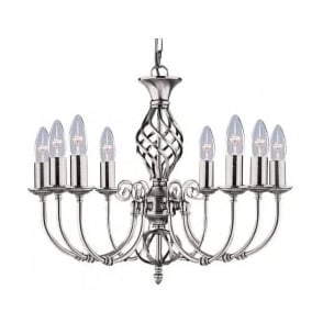 4489-8 Zanzibar 8 Light Ceiling Light Satin Silver