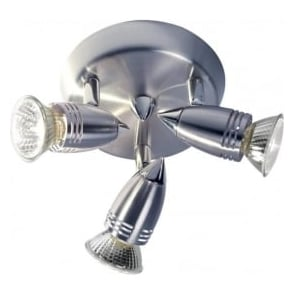GEM7646 Gemini 3 Light Ceiling Spotlight Satin Chrome