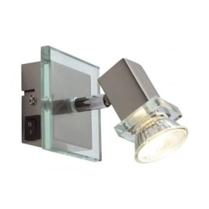 Spirit 1 Light Switched Wall Spotlight Satin Chrome