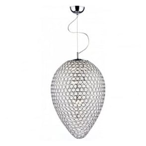 FRO0550 Frost 5 Light Crystal Ceiling Pendant Polished Chrome