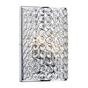 FRO0950 Frost 2 Light Crystal Wall Light Polished Chrome