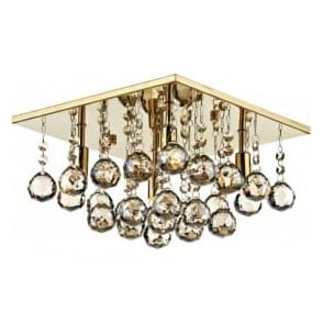 ABA5240 Abacus 4 Light Crystal Flush Ceiling Light Gold