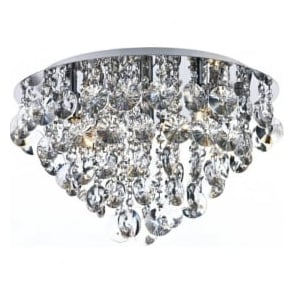 JES5450 Jester 5 Light Crystal Flush Ceiling Light Polished Chrome