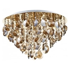 JES5440 Jester 5 Light Crystal Flush Ceiling Light Gold