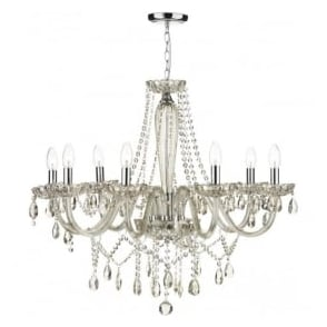 RAP0806 Raphael 8 Light Ceiling Chandelier Champagne Glass