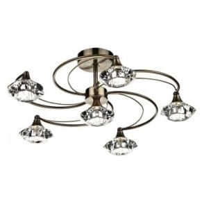 LUT0675 Luther 6 Light Crystal Ceiling Light Antique Brass