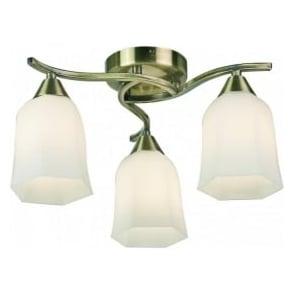 96973-AB Alonso 3 Light Ceiling Light Antique Brass