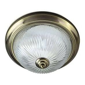 4370 American Diner Flush 2 Light Flush Ceiling Light Antique Brass