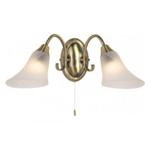 144-2AN Hardwick 2 Light Switched Wall Light Antique Brass