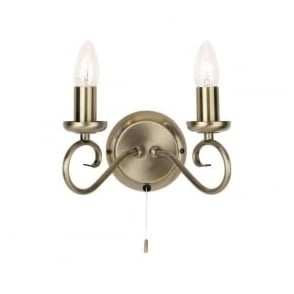 180-2AN Trafford 2 Light Switched Wall Light Antique Brass