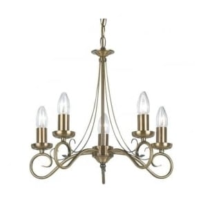 180-5AN Trafford 5 Light Ceiling Light Antique Brass