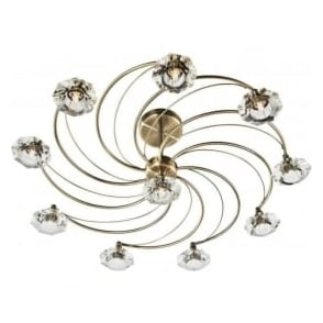 Dar LUT2375 Luther 10 Light Crystal Ceiling Light Antique Brass