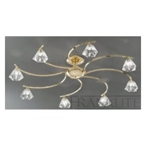 FL2230/8 Twista 8 Light Crystal Ceiling Light Polished Brass