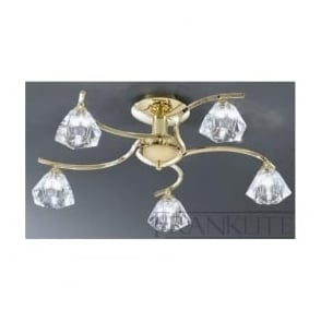 FL2230/5 Twista 5 Light Crystal Ceiling Light Polished Brass