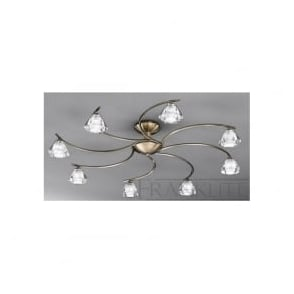 FL2163/8 Twista 8 Light Crystal Ceiling Light Antique Brass
