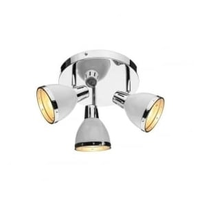 OSA762 Osaka 3 Light Ceiling Spotlight Gloss White Polished Chrome